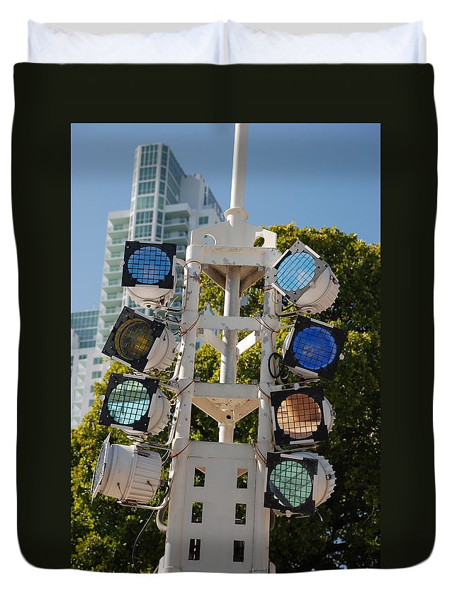 Lights Duvet Cover featuring the photograph Lights by Rob Hans