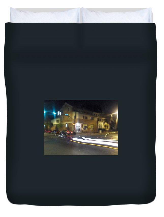 Photograph Duvet Cover featuring the photograph Lights That Race by Thomas Valentine