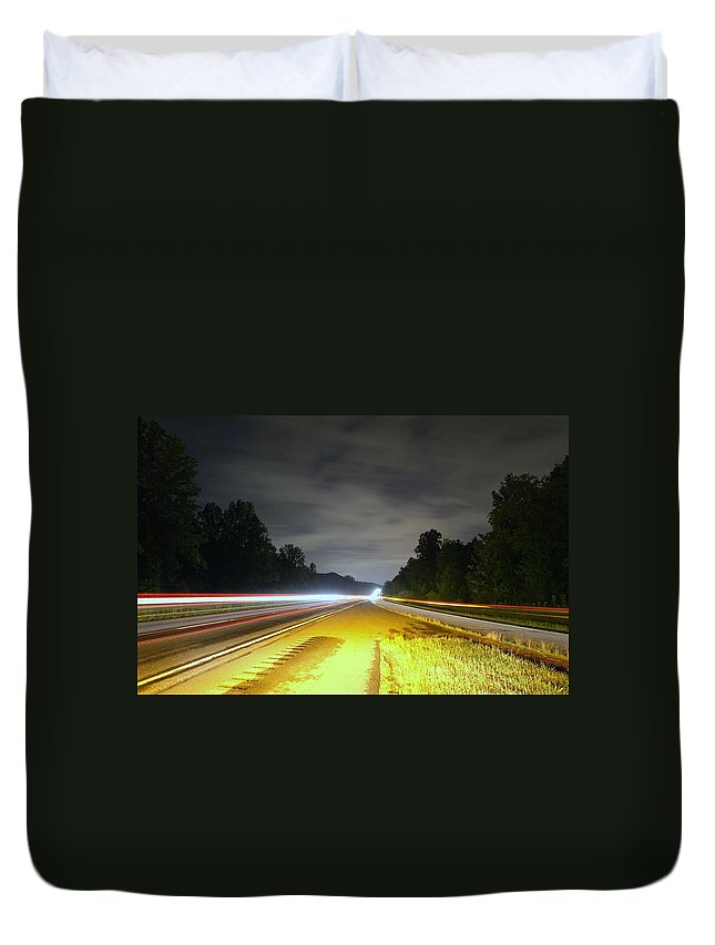 Landscape Duvet Cover featuring the photograph Lightworks by Alex Grichenko