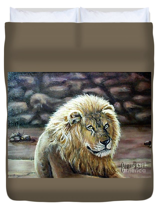 Fuqua - Artwork Duvet Cover featuring the painting Like Father by Beverly Fuqua