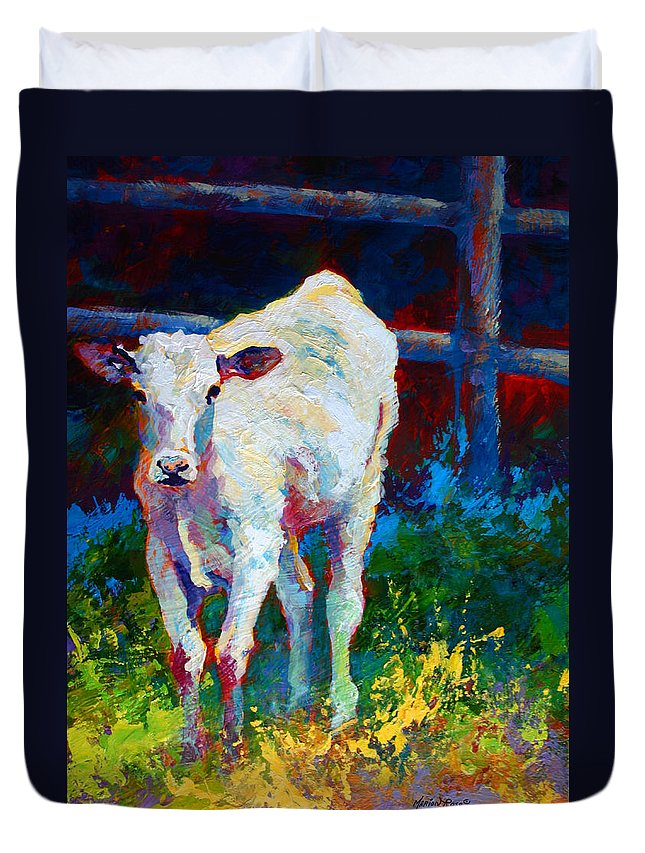 Western Duvet Cover featuring the painting Like My Daddy by Marion Rose