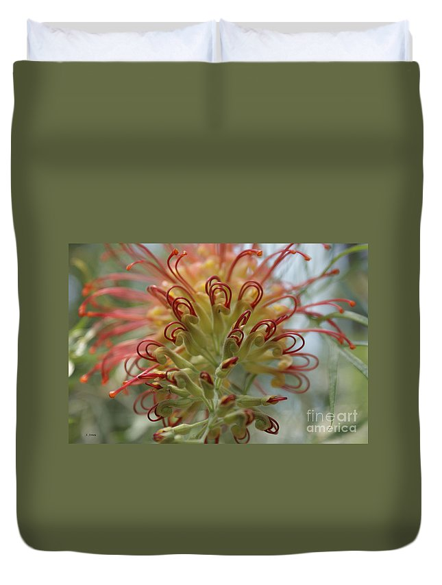 Floral Duvet Cover featuring the photograph Like Stems Of A Cherry by Shelley Jones