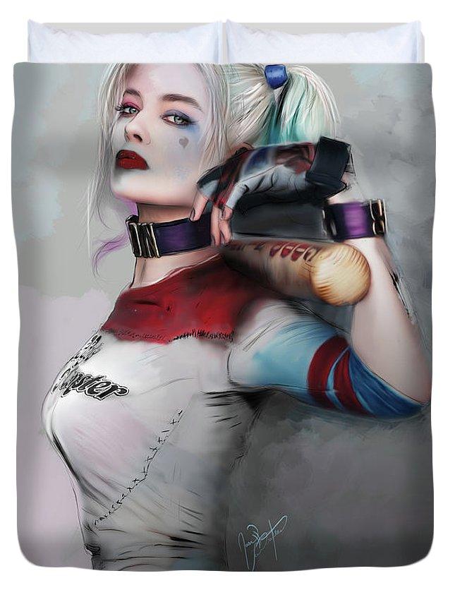 Harley Duvet Cover featuring the digital art Lil Monster by Jason Longstreet