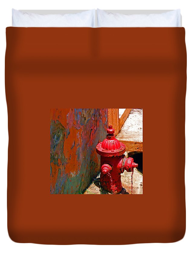 Red Duvet Cover featuring the photograph Lil Red by Debbi Granruth