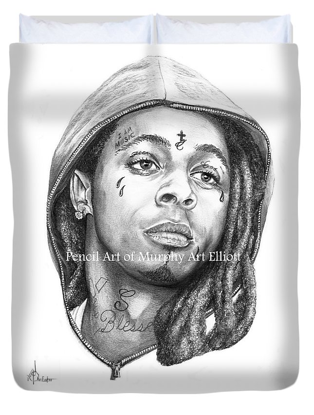 Portrait Duvet Cover featuring the drawing Lil Wayne by Murphy Elliott