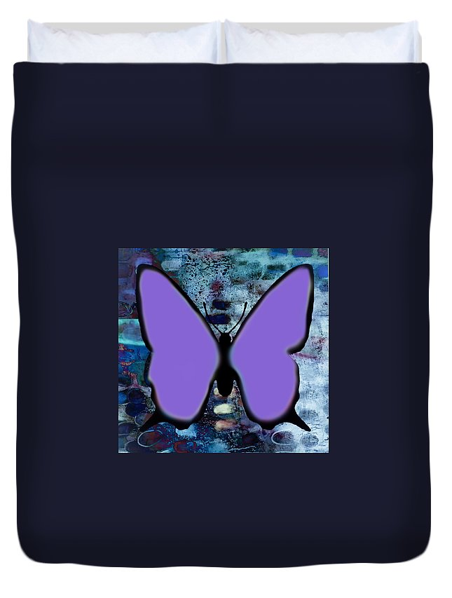 Butterfly Duvet Cover featuring the digital art Lila Papillon by Jean jacques Bossa