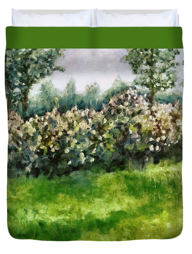 Spring Duvet Cover featuring the painting Lilac Bushes In Springtime by Michelle Calkins