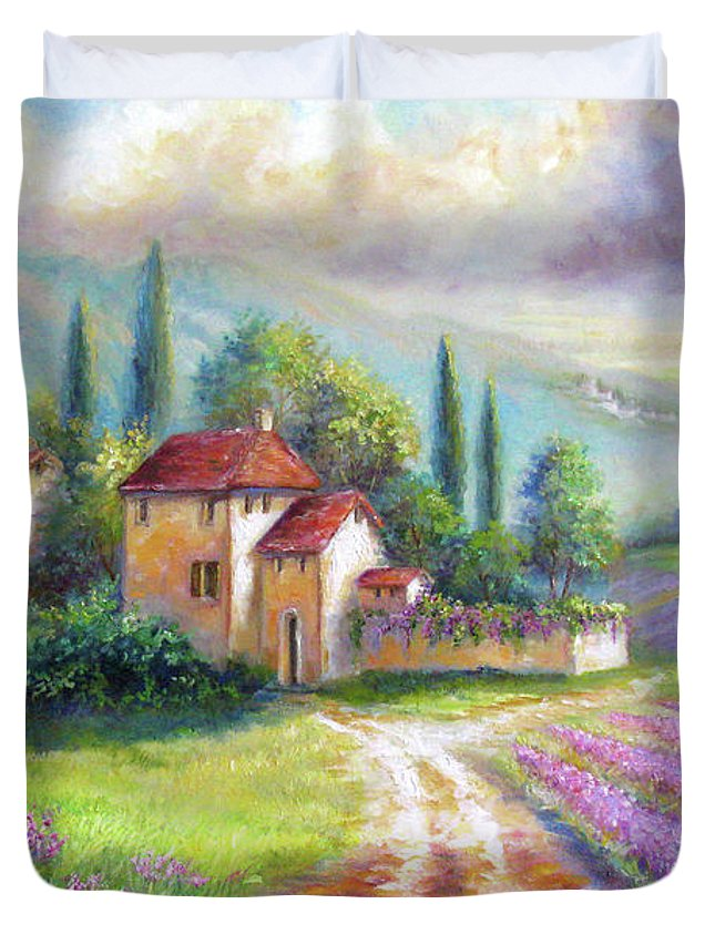 Landscape Duvet Cover featuring the painting Lilac Fields In The Italian Countryside  by Regina Femrite