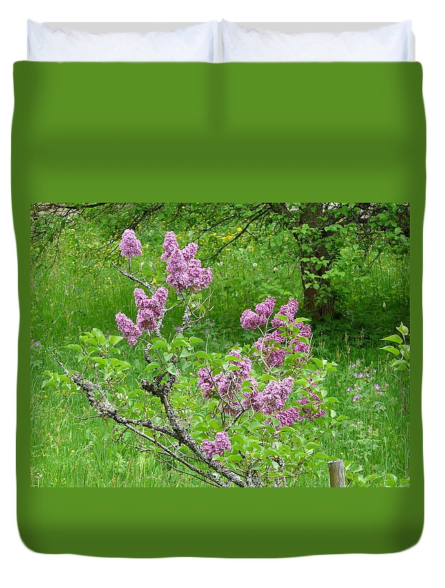 Flower Duvet Cover featuring the photograph Lilac In The Spring Meadow by Valerie Ornstein