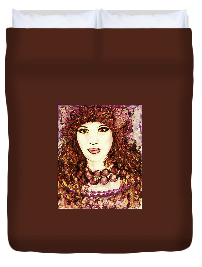 Woman Duvet Cover featuring the painting Lilac by Natalie Holland