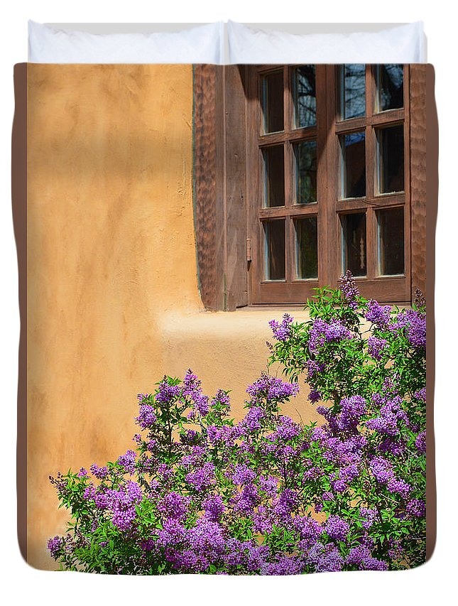 Lilacs Duvet Cover featuring the photograph Lilacs And Adobe by Catherine Sherman