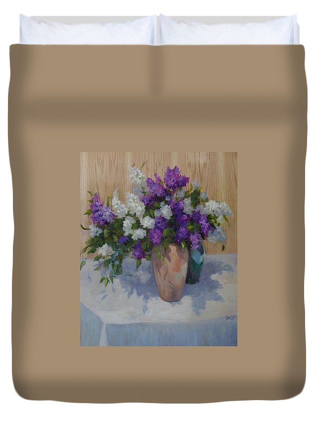 Lilacs Duvet Cover featuring the painting Lilacs by Patricia Kness