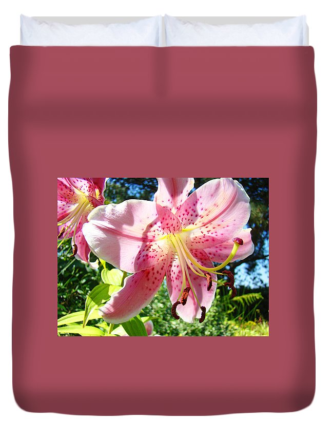 Lilies Duvet Cover featuring the photograph Lilies Art Prints Pink Lily Flowers 2 Giclee Prints Baslee Troutman by Baslee Troutman