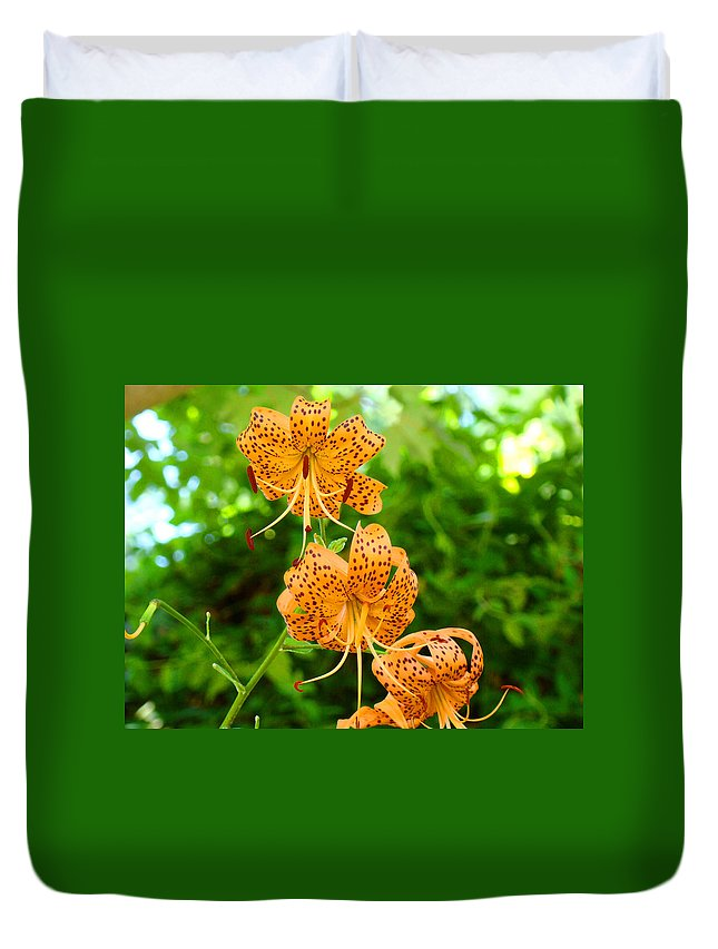 Lilies Duvet Cover featuring the photograph Lilies Art Tiger Lily Flowers Canvas Prints Floral Baslee Troutman by Baslee Troutman