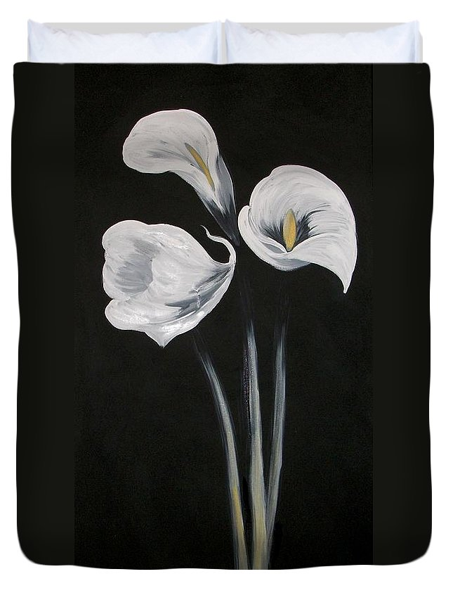 Floral Duvet Cover featuring the painting Lilies ffor Brandy by Tami Booher