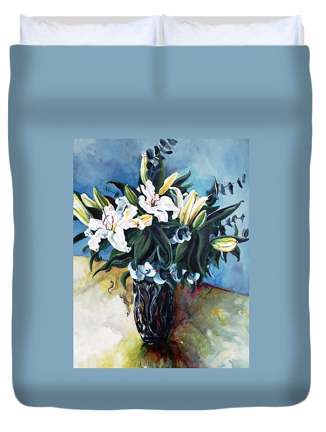 Lilies Duvet Cover featuring the painting Lilies by Jolante Hesse