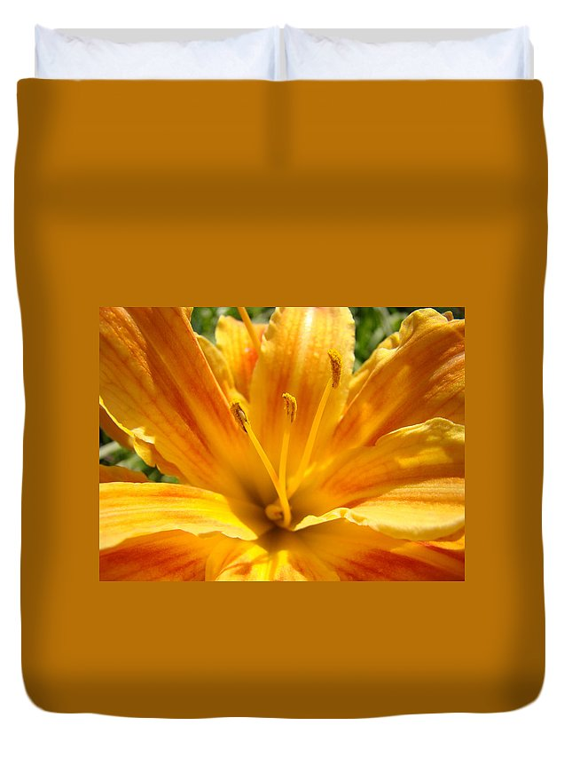 Lilies Duvet Cover featuring the photograph Lilies Orange Yellow Lily Flower 1 Giclee Art Prints Baslee Troutman by Baslee Troutman