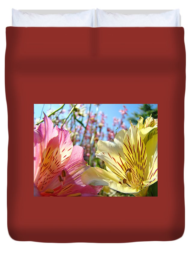 Lilies Duvet Cover featuring the photograph Lilies Pink Yellow Lily Flowers Canvas Art Prints Baslee Troutman by Baslee Troutman