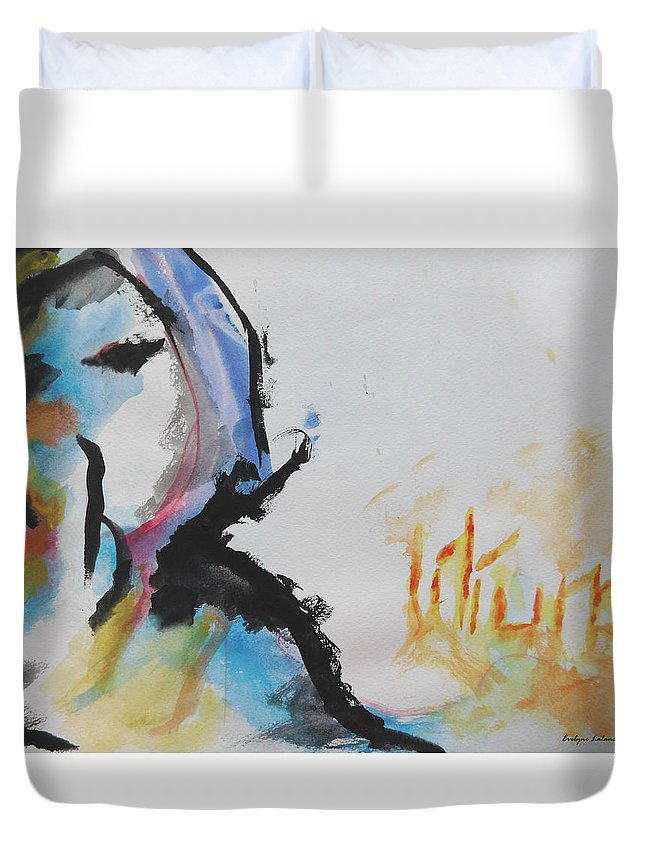 Latin Art Duvet Cover featuring the painting Lilium by Evelyne Lalancette