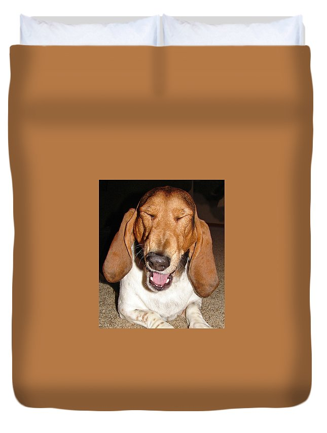 Basset Hound Duvet Cover featuring the photograph Lillard by Heather Coen