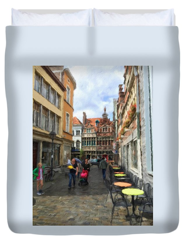 Lille Duvet Cover featuring the digital art Lille Streets Series #2 by Michael Bowers