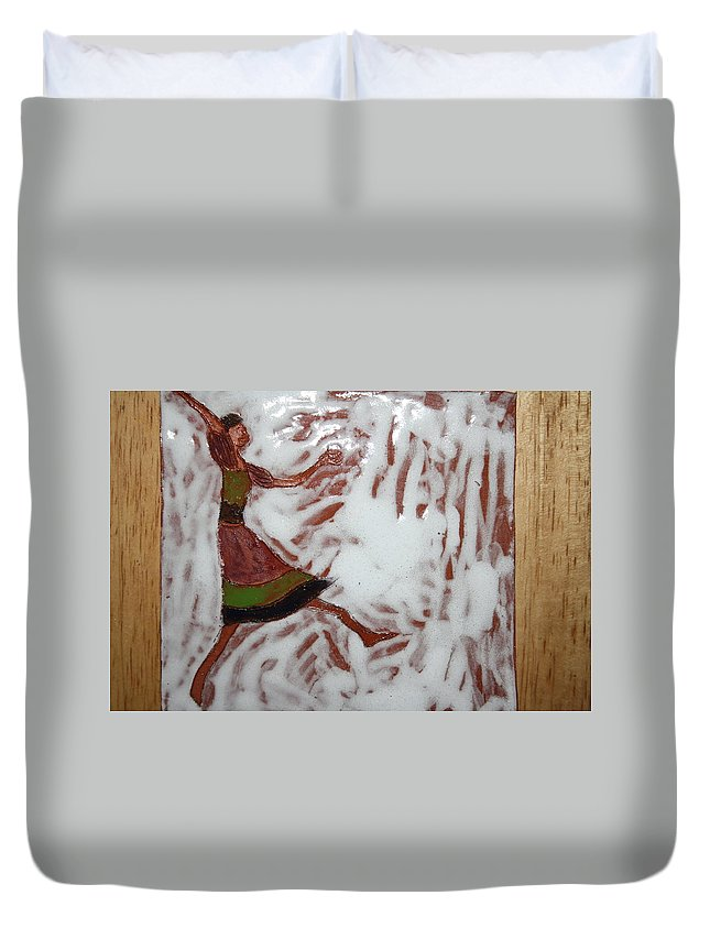 Jesus Duvet Cover featuring the ceramic art Lillian - Tile by Gloria Ssali