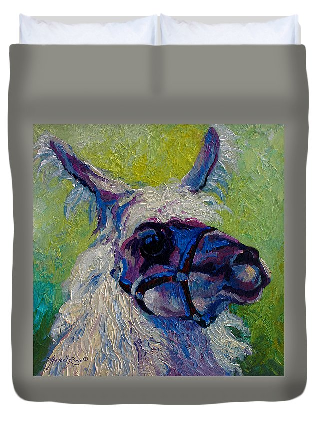 Llama Duvet Cover featuring the painting Lilloet - Llama by Marion Rose