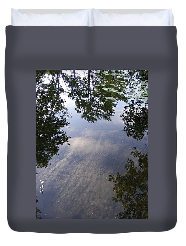 Lilly Pad Reflections Duvet Cover featuring the photograph Lilly Pad Reflections by Edward Smith