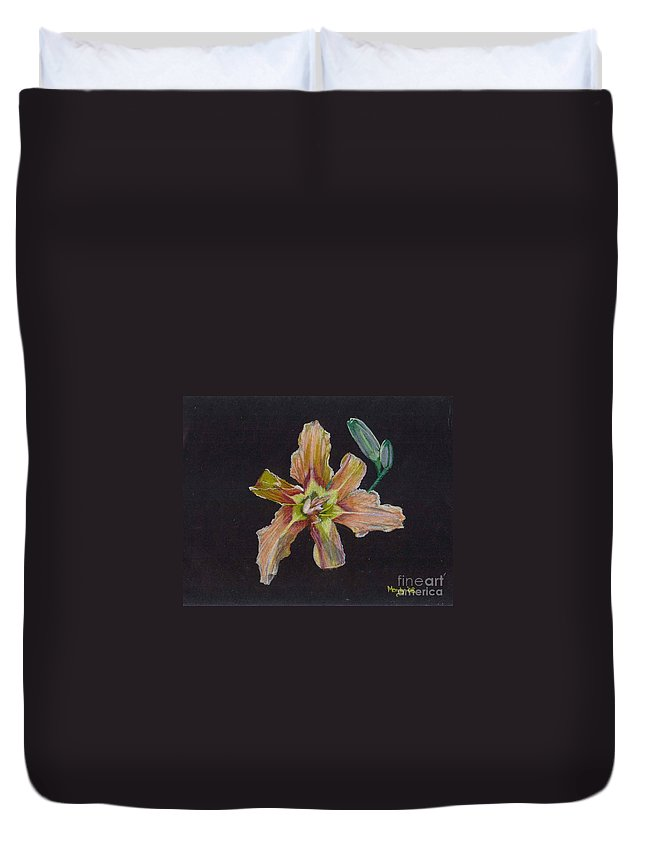 Lily Duvet Cover featuring the pastel Lily 2 by Mendy Pedersen