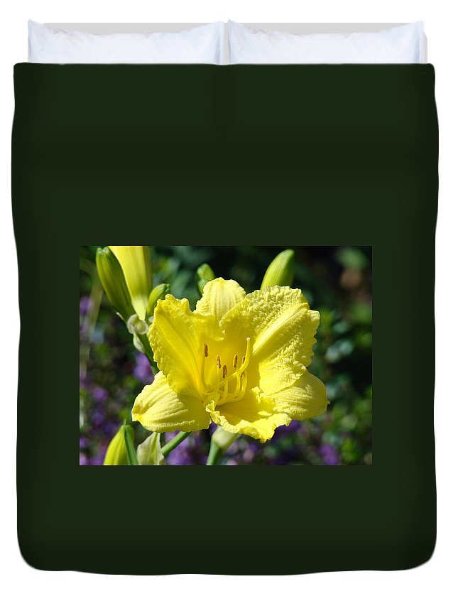 Lilies Duvet Cover featuring the photograph Lily Flower Art Print Canvas Yellow Lilies Baslee Troutman by Baslee Troutman