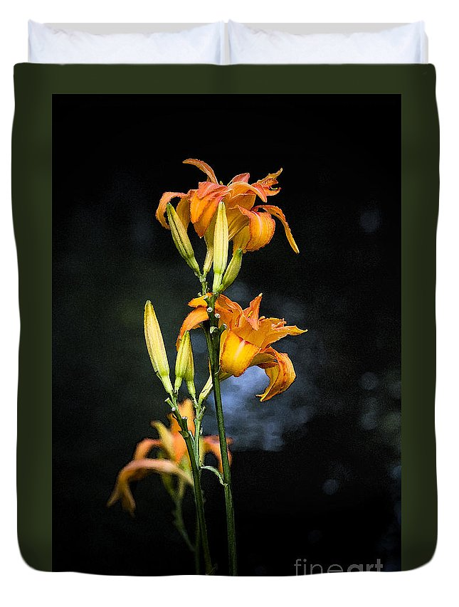 Lily Monet Garden Flora Duvet Cover featuring the photograph Lily In Monets Garden by Avalon Fine Art Photography