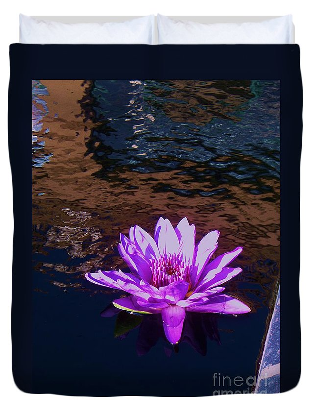 Photograph Duvet Cover featuring the painting Lily In Pond by Eric Schiabor