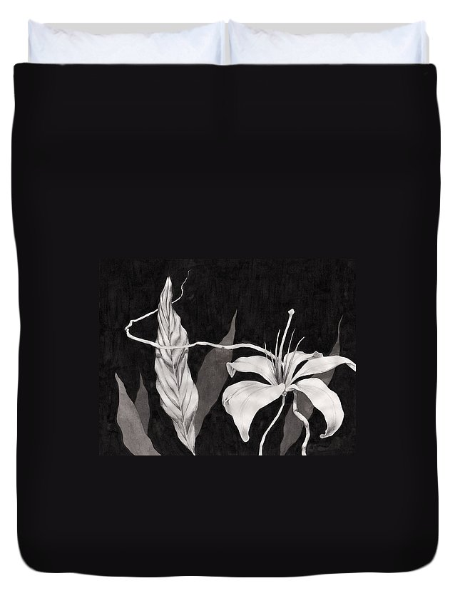 Ink Painting Duvet Cover featuring the drawing Lily In The Night by Jennifer McDuffie