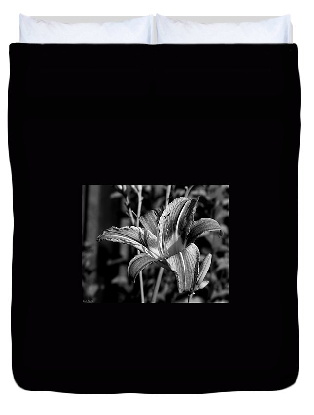Macro Duvet Cover featuring the photograph Lily by Lauren Radke