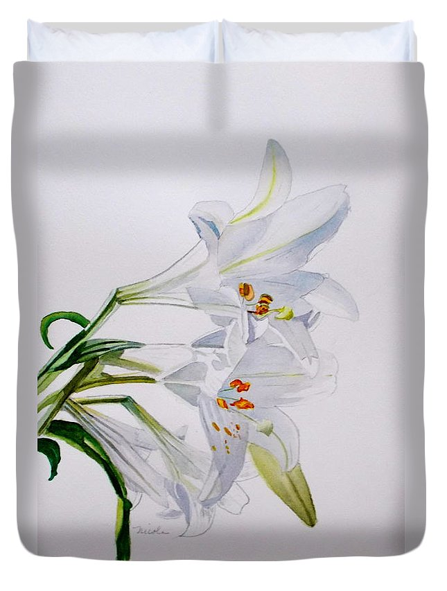 Lily. Flower Duvet Cover featuring the painting Lily by Nicole Curreri