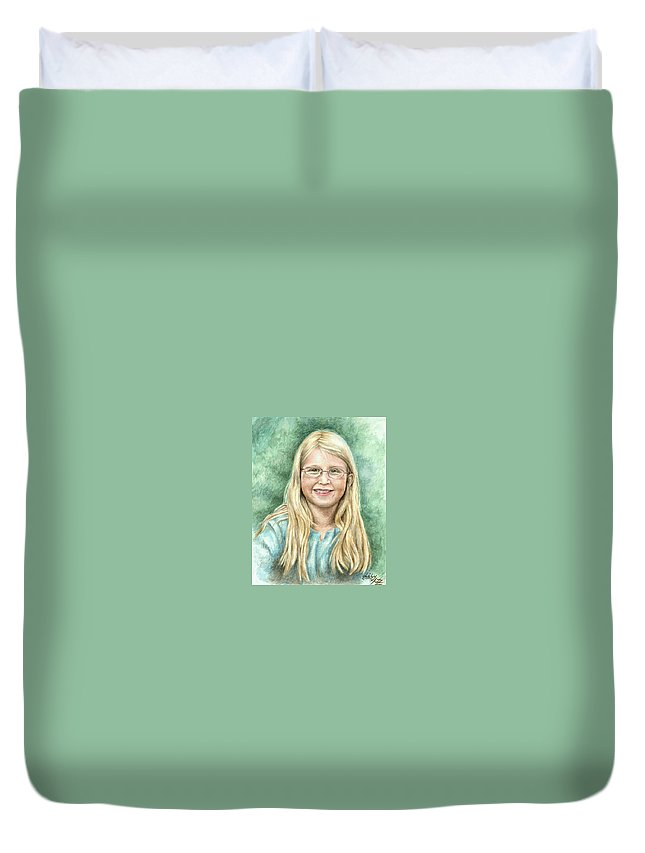 Girl Duvet Cover featuring the painting Lily by Nicole Zeug