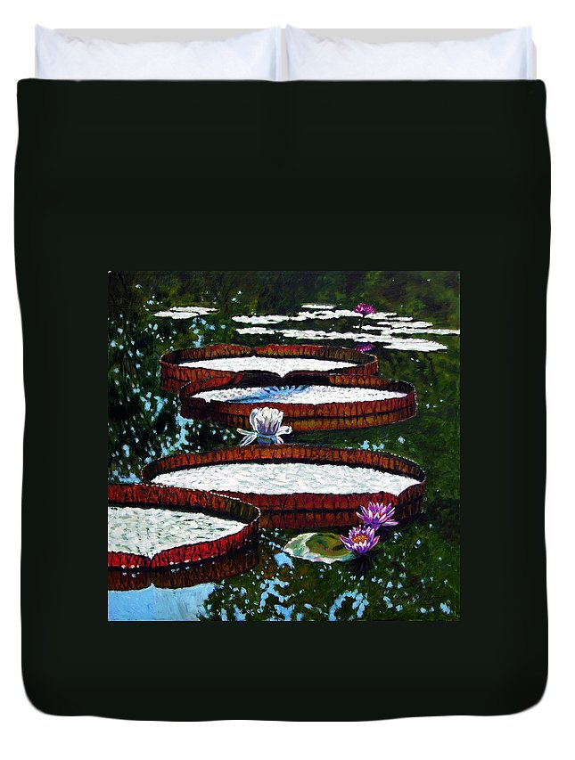 Garden Pond Duvet Cover featuring the painting Lily Pad Highlights by John Lautermilch