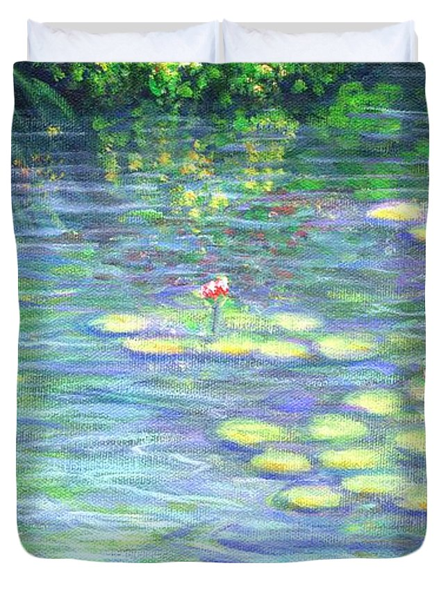 Lily Pads Duvet Cover featuring the painting Lily Pads Triptych Panel Three Of Three by Linda Mears