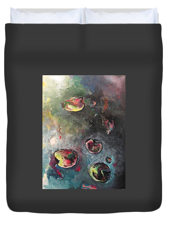 Abstract Painting Lily Pad Water Lake Blue Plant Paper Original Contemporary Canvas Duvet Cover featuring the painting Lily Pads5 by Seon-Jeong Kim