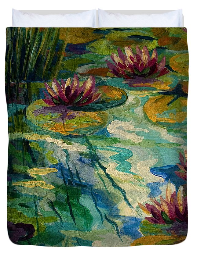 Water Lily Duvet Cover featuring the painting Lily Pond II by Marion Rose