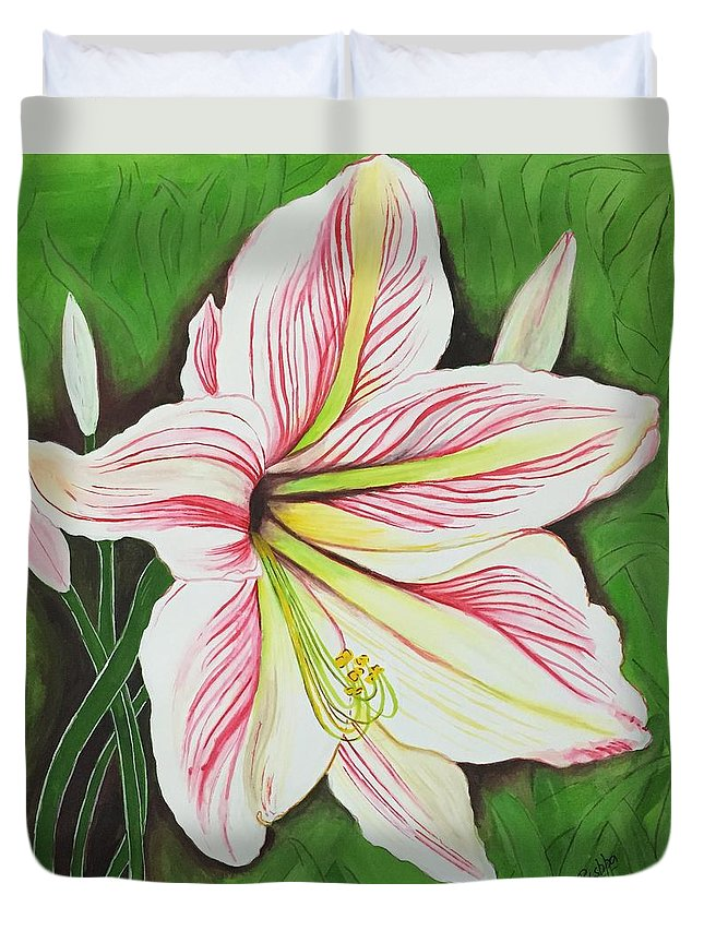 Flower Duvet Cover featuring the painting Lily by Pushpa Sharma