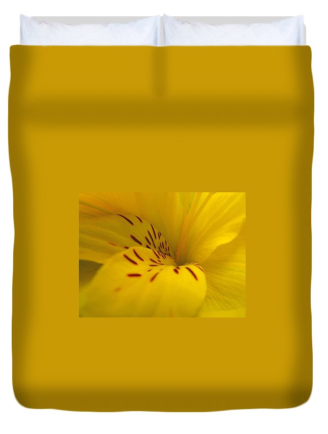 Yellow Duvet Cover featuring the photograph Lily by Rhonda Barrett
