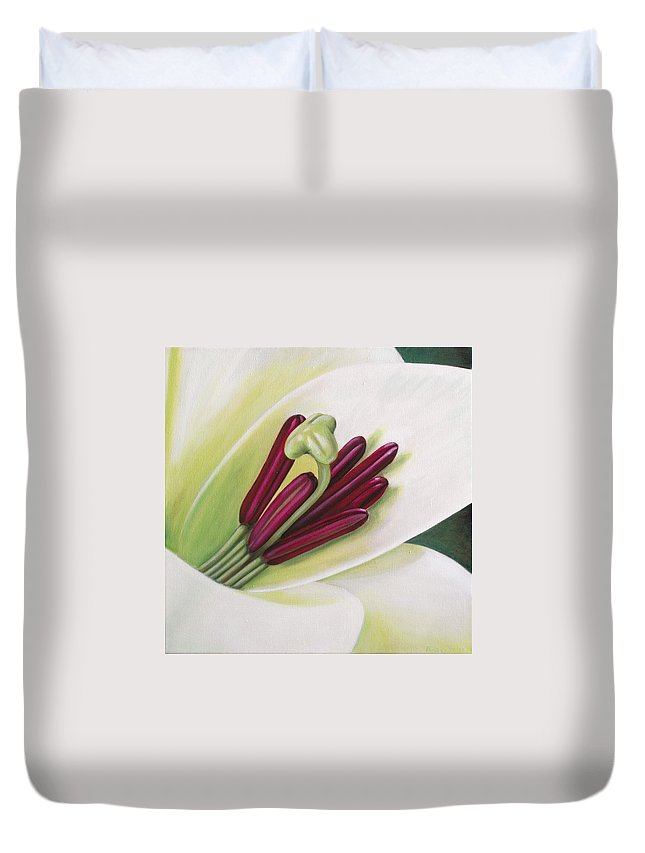 Flower Duvet Cover featuring the painting Lily by Rob De Vries