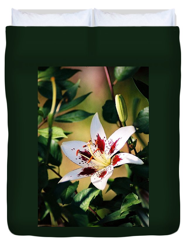 Flower Duvet Cover featuring the photograph Lily by Steve Karol