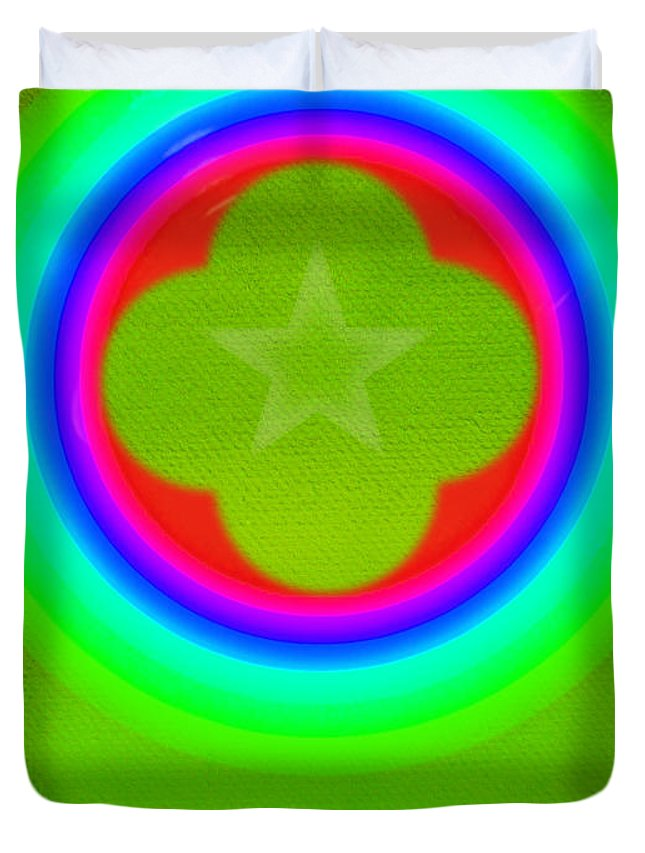 Abstract Duvet Cover featuring the painting Lime by Charles Stuart