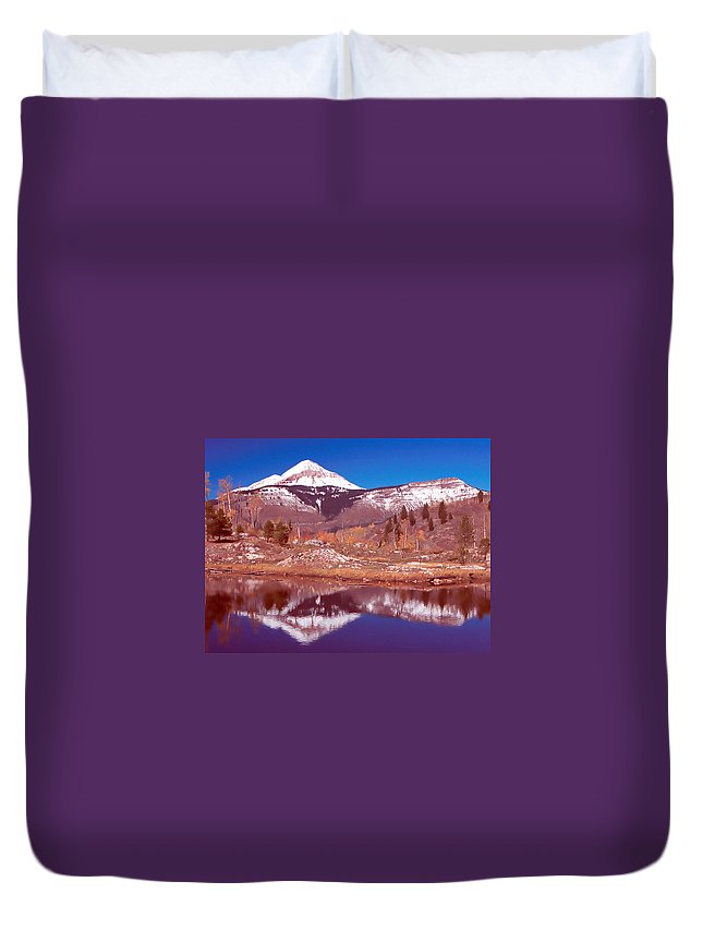 Lake Pond Mountain Reflection Beaver Snow Duvet Cover featuring the photograph Lime Creek Beaver Pond by Howard Thompson