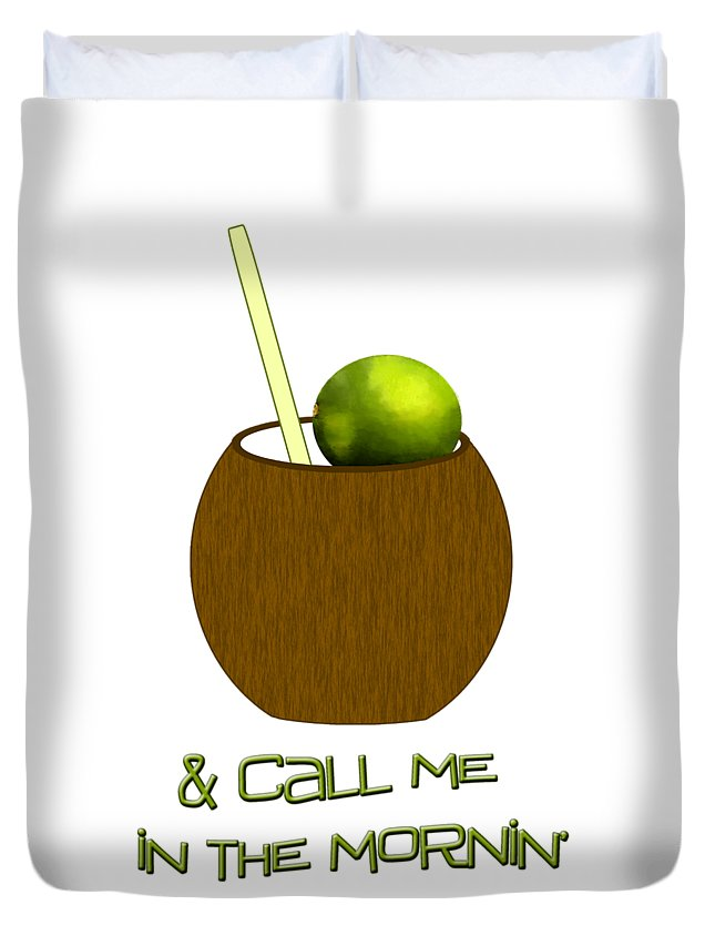 Lime In The Coconut Duvet Cover featuring the digital art Lime In The Coconut by Methune Hively