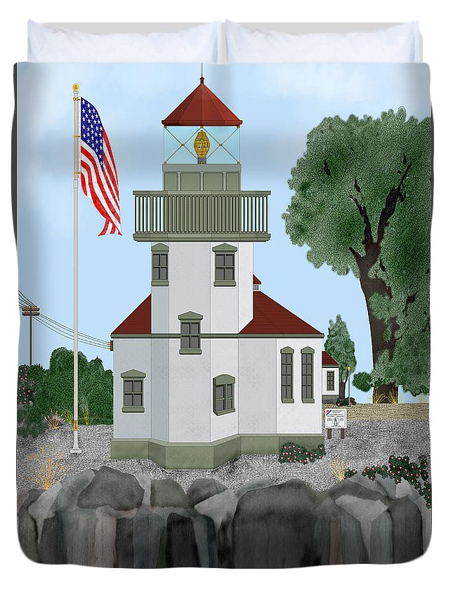 Lighthouses Duvet Cover featuring the painting Lime Kiln Light On San Juan Island by Anne Norskog