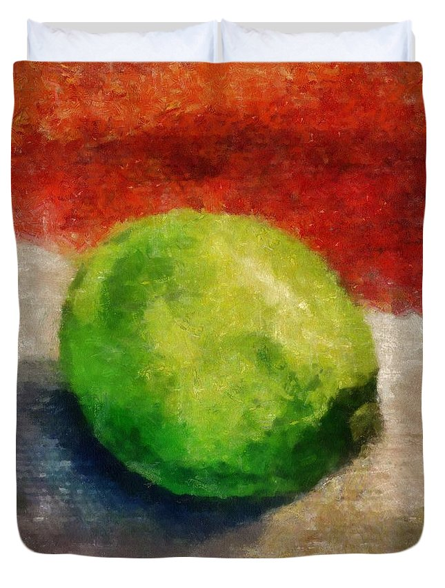 Lime Duvet Cover featuring the painting Lime Still Life by Michelle Calkins