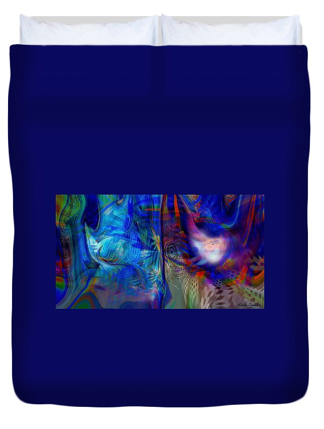 Abstract Duvet Cover featuring the digital art Limelight by Linda Sannuti